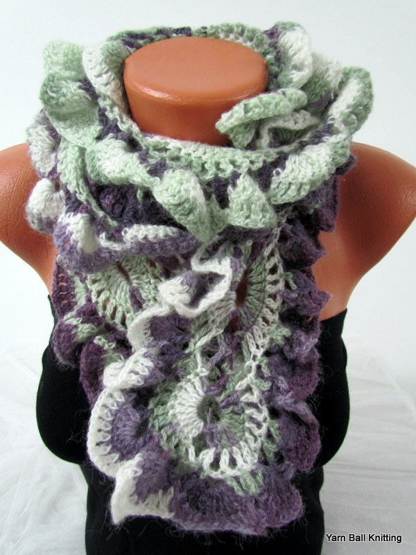 Free Online Baby Blanket Knitting Patterns For Beginners : Knitted Curly Scarf Crochet, Colorful Purple And Green Line on Luulla